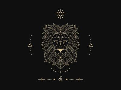 zodiac leo sign flat logo branding 2d illustration