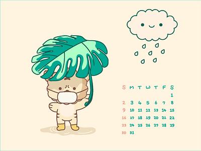 august calendar 2d design calendar character illustration