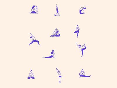 yoga poses illustration poster logo branding flat 2d illustration