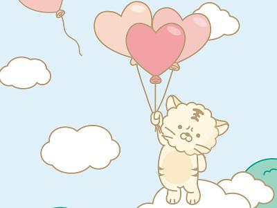 hoong balloon character icon branding 2d illustration