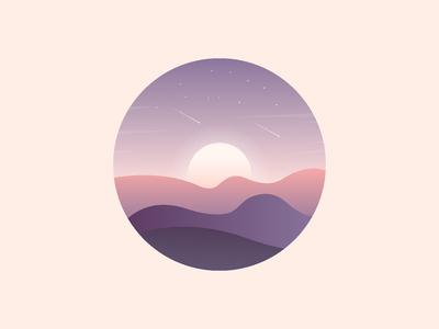 Sunrise landscape illustration.