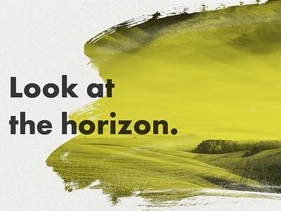 Look At The Horizon dark gray yellow duotone bold font design gradient bold color