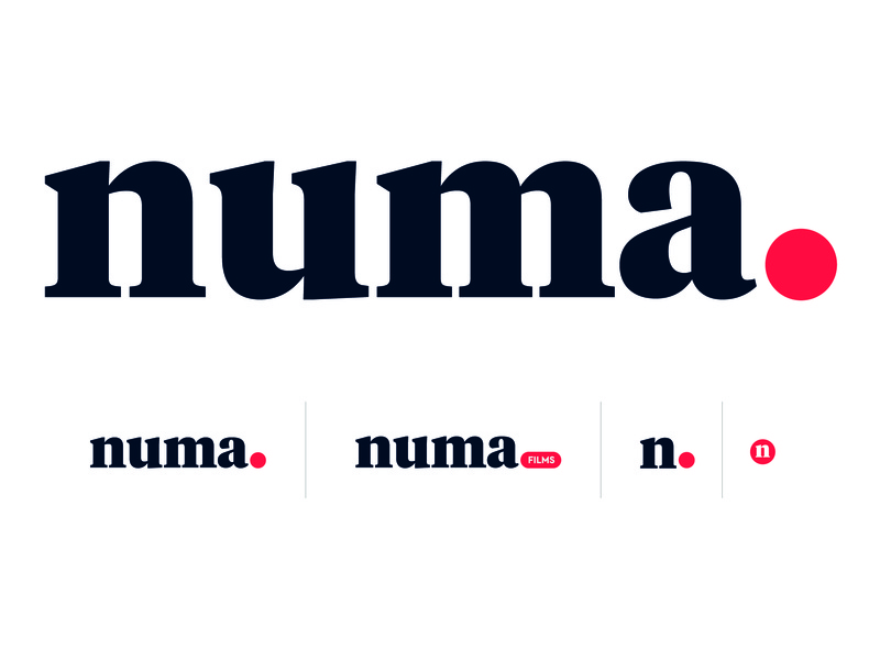 numa FILMS Logo red black recording sanserif simple logo