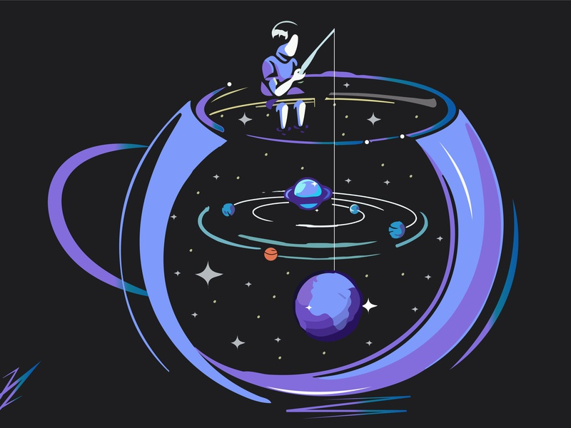 Man In Dream creative illustrator space star imagination gradient dream