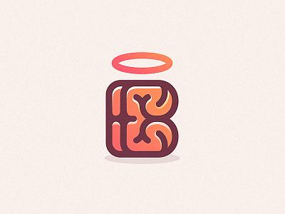 Brain + Being dribbble drawing design vector illustration branding logo being brain