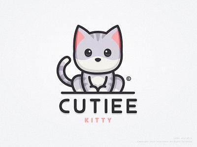 Cutiee Kitty simple youtube process sketch adobe illustrator adobe photoshop adobe kitten cat kitty design mascot vector logo character illustration dribbble drawing