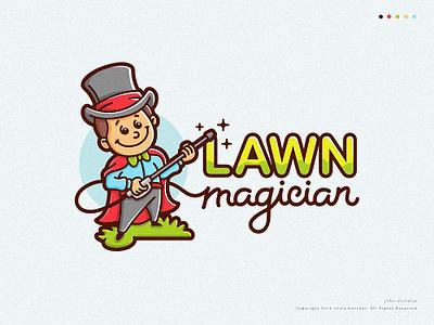 Lawn magician charcater magician magic lawn vector mascot logo illustration dribbble drawing character
