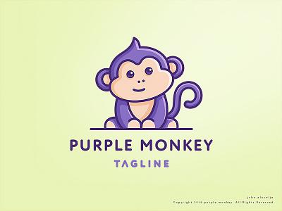 purple monkey (SOLD) design cute monkey purple vector drawing mascot logo illustration dribbble character