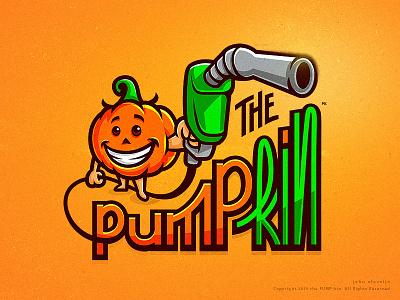 the PUMP-kin design vector logo drawing pump gas pump pumpkin cute illustration mascot dribbble character