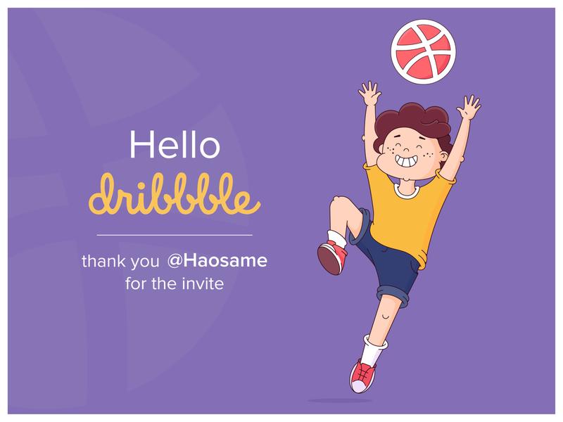 Hello! vector illustration teenager basketball jump boy