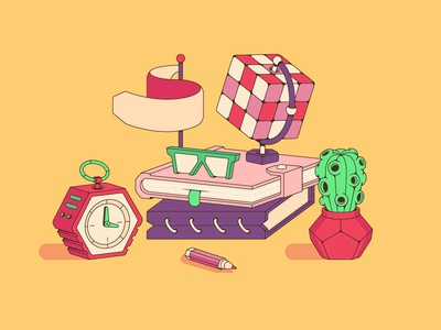 Workplace modern future cactus pencil notes book office flag alarm clock glasses rubiks cube cube plant workplace