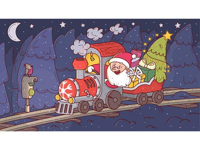 Santa's post delivery happy holidays happy new year holidays holiday new year development postcard post delivery railway trains christmas tree santa christmas