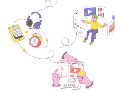 Illustrations for wed site headphones character design boy illustration hand arm pc computer clock isometric illustration isometric design isometric art isometry flat design characterdesign character illustration art web website