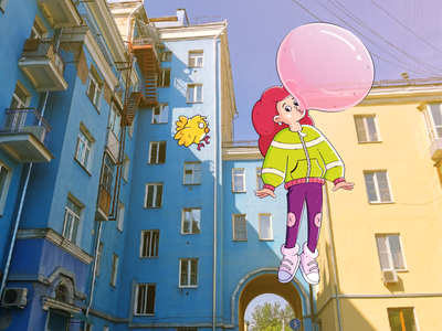 Girl in Krasnoyarsk bird baby kids characterdesign illustration cartoon girl character