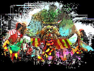 East Java Arts Reog Ponorogo flat vector design illustration