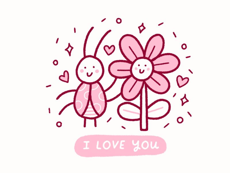 Bug & Flower Love ipadpro procreate love cute drawing illustration