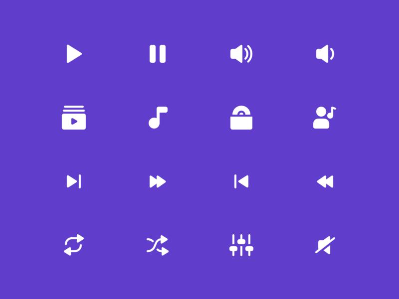 Music Icons Reversed app icon set ui iconography icon design icon