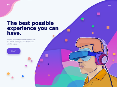 Virtual reality gradient draw graphics virtual reality character web ux ui site vector illustration landing page website