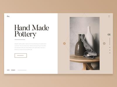 Exploration clean layout design pottery store shop landing page site webpage ui ux website