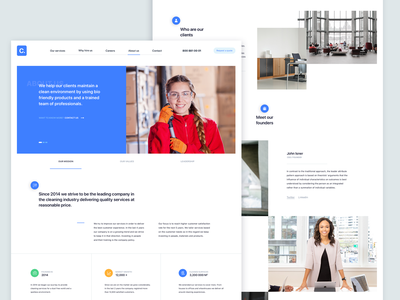 About Us | Cleaning company user centered design interface color interface design about us page design cleaning company icon design branding clean design web design layout typography webpage landing page ux web ui site website