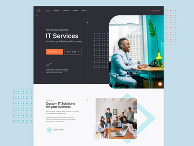 IT Company | Website exploration modern graphic design graphics homepage landing page design chat technology hero exploration company webpage customer services web design interface design site ux ui typography layout webpage web website
