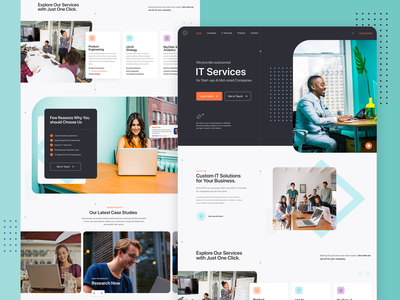 IT Company | Homepage design technology customer services interface design webpage exploration graphics graphic design services it company homepage design homepage layout design typography design icon webpage web design landing page ui site website web