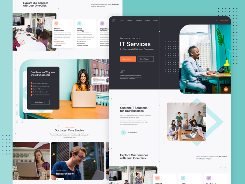 IT Company   Homepage design technology customer services interface design webpage exploration graphics graphic design services it company homepage design homepage layout design typography design icon webpage web design landing page ui site website web