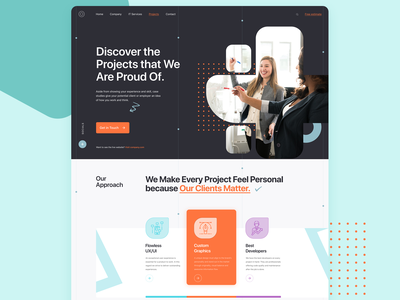Project page | IT Company project webpage design icons webpage exploration technology graphics graphic design ux customer services project page details it company website typography layout interface design webpage landing page design ui site website web