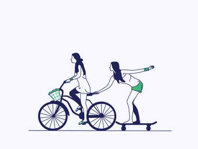 Having fun hand drawing bicycle character concept flat colors simple design graphic design work graphics art flat illustration flat design artwork girls illustration character illustration vector illustration ui site design vector illustration web