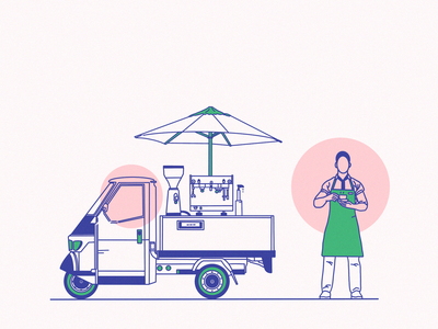 Man selling coffee style creative illustration graphic design graphics simple clean illustration line art illustration flat design car coffee sketch flat hand drawing character concept flat illustration style drawing landing page design site vector illustration web