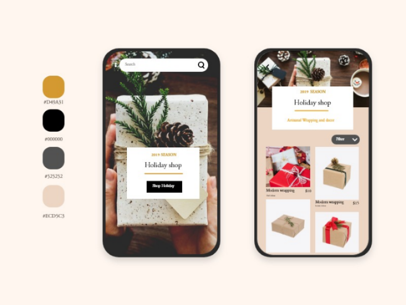 App design for gift wrapping. design ui app typography ux