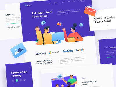 App for Remote Team - Landing Page landing page video conference video call work from home purple web blue homepage illustration clean ui concept clean design design ux ui
