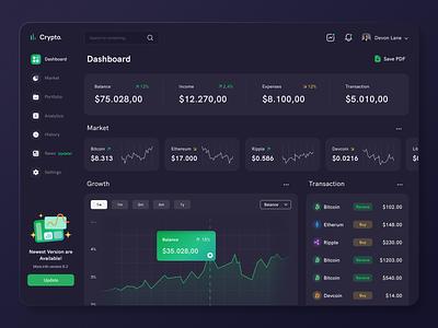 Crypto Dashboard ethereum bitcoin crypto exchange cryptocurrency dark theme dark mode dark ui dark dashboard app dashboard design dashboard ui dashboad app concept design ux ui