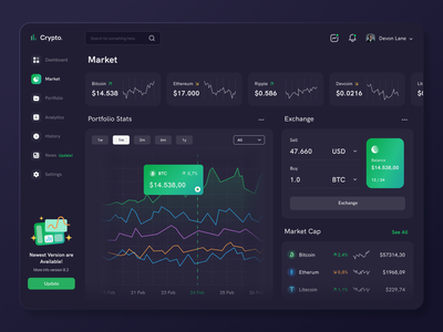Crypto Dashboard - Market cryptocurrency stats ui exchange rate market ethereum bitcoin crypto exchange crypto currency dark theme dark mode dark ui dashboard design dashboard app dashboard ui dashboard design ux ui