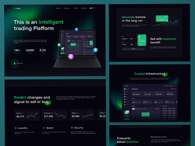 Crypto Landing Page ethereum bitcoin cryptocurrency crypto dark mode dark theme dark landingpage homepage concept design ux ui