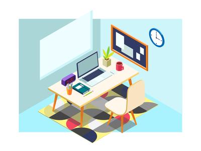 Isometric Work Desk Illustration