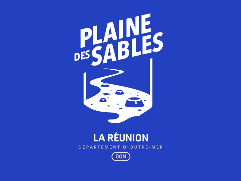 La Plaine des sables france road sign road tropical logo concept logotype design luna space landscape city illustration city branding logotype reunion island