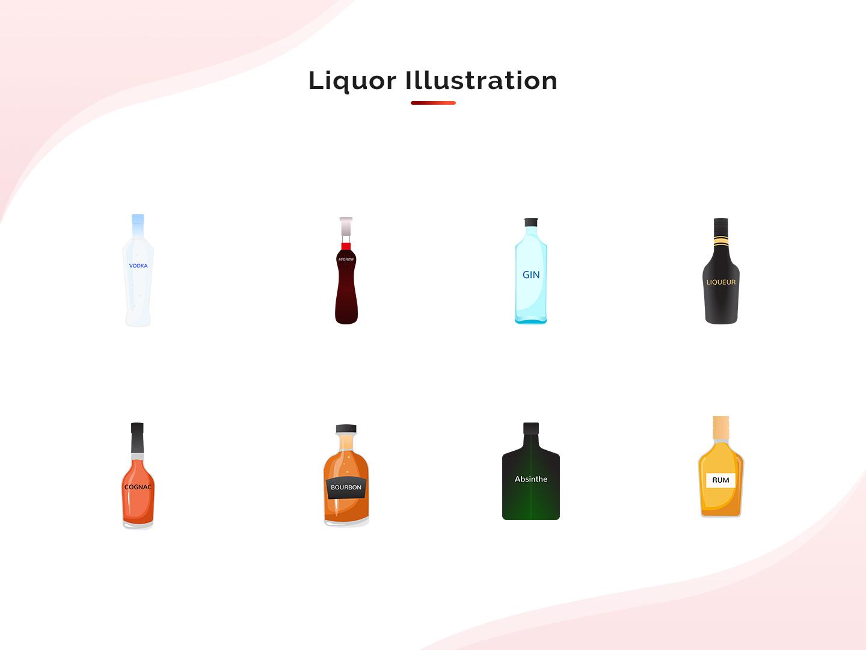 Beverages Illustration -1 design art bottle design liqour illustration alcohol beverages liqour illustrator vector design illustration art vector illustration flat design design