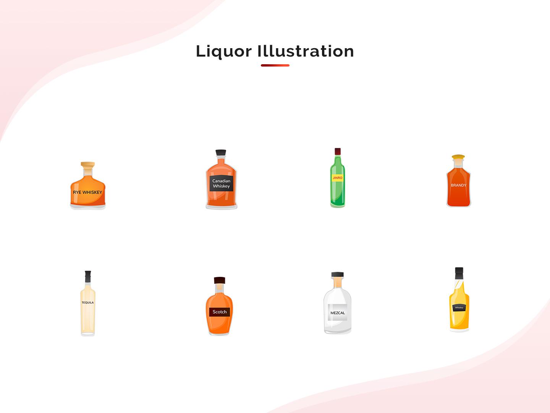 Beverages Collection - 2 beverages collection beverages vector art liqour bottle design alcohol design art vector design vector illustration vector illustration flat design