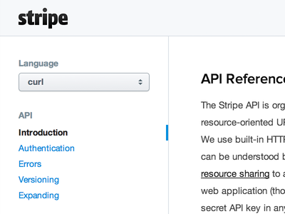 Stripe API Docs api docs select navigation stripe