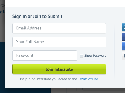 Sign In or Join interstate interstateapp sign in login join form button checkbox