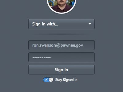 Pawnee login signin form inset dark toggle switch