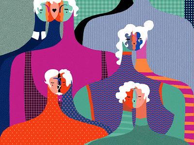 Love is love lovers editorial relationship tolerance lgbtq editorial illustration love design femme drawing digital art figure texture illustration