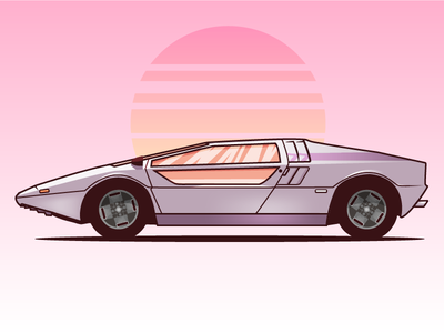 Maserati Boomerang 70s 80s miami vice vector sticker illustration flat car