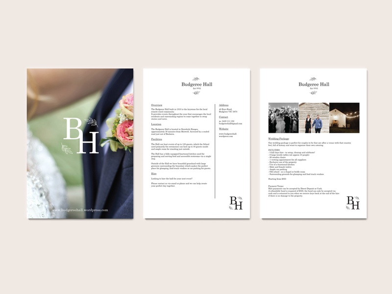Budgeree Hall Wedding Packet visual identity marketing material