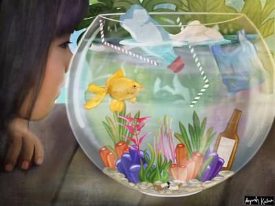 Plastic in aquarium too👿