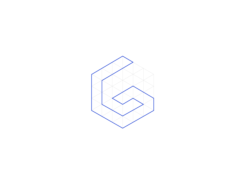 The Grid cube shape isometric outline design web grid logo