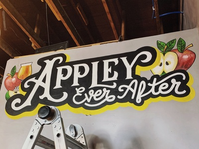 Apple Cider Brewery Mural typography design handdrawn vintage illustration handlettering lettering black and white beer apple muralart mural