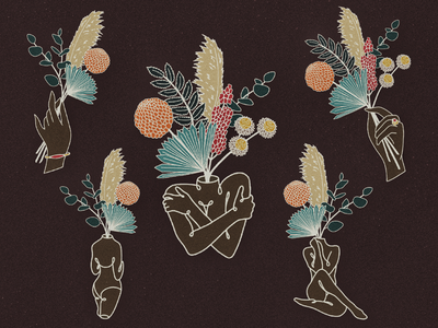 Female Florals muted colors leaves palms dried flowers florals dried plants hands contour modern illustration female figure