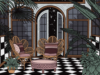Greenhouse at Night tropical plants patio greenhouse interior illustration